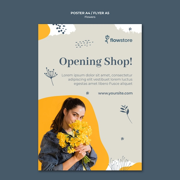 Opening soon flower shop poster template Free Psd