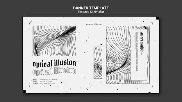 Optical illusion art exhibit banner template Free Psd