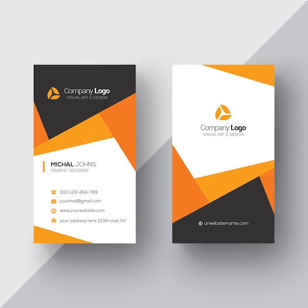 Orange and white business card Free Psd