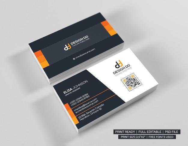 Orange clean business card Premium Psd