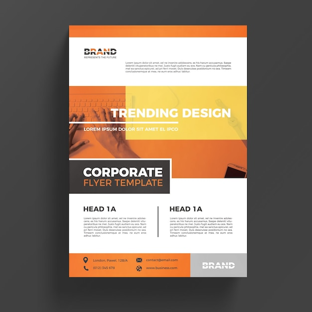Orange corporate business flyer template psd file free for Free business flyer templates