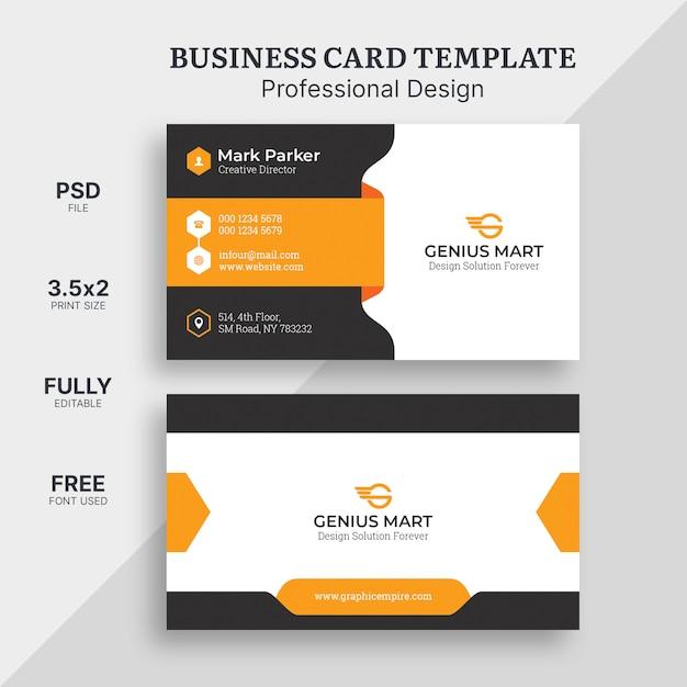 Оранжевая элегантная визитная карточка Premium Psd