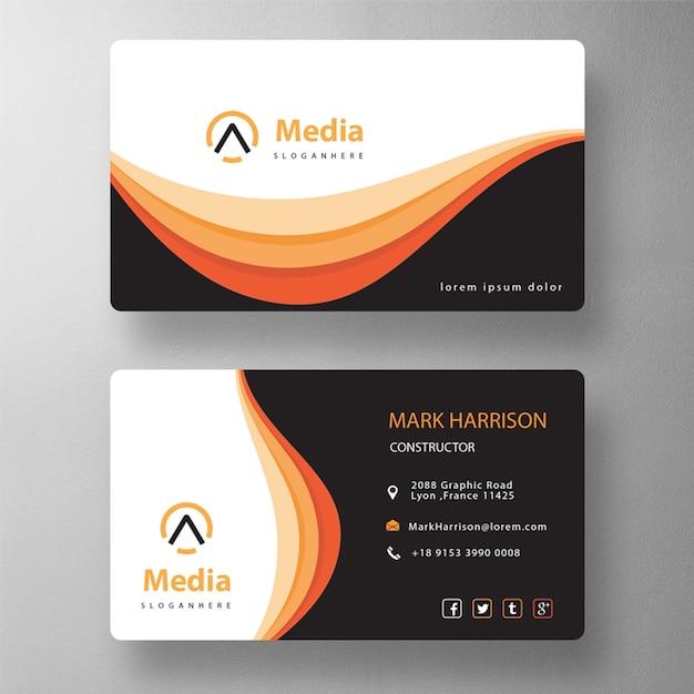 오렌지 우아한 psd 방문 카드 무료 PSD 파일