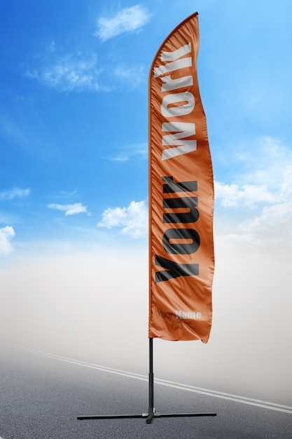 orange flag mock up psd file