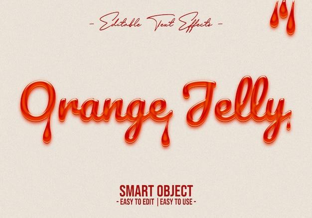Orange jelly text style effect Premium Psd