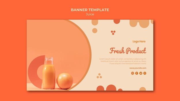 Modello di banner di succo d'arancia con foto Psd Gratuite