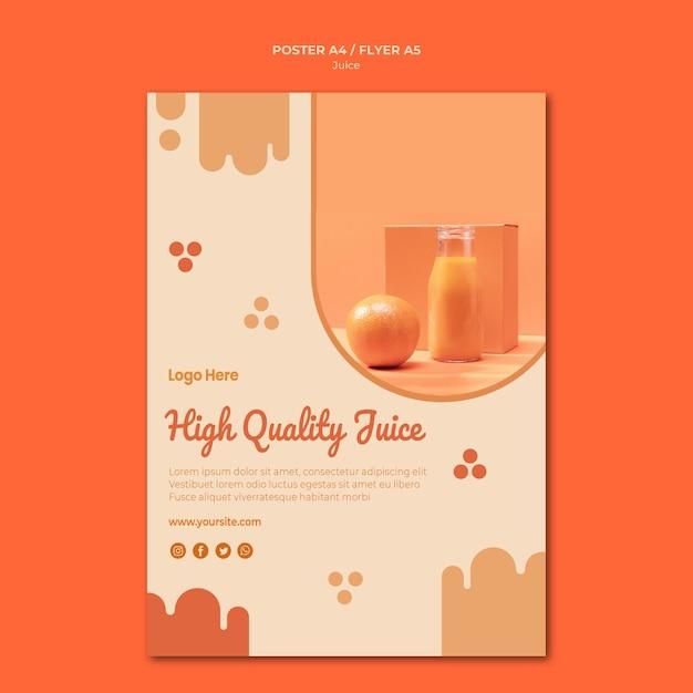 写真付きオレンジジュースポスターテンプレート 無料 Psd