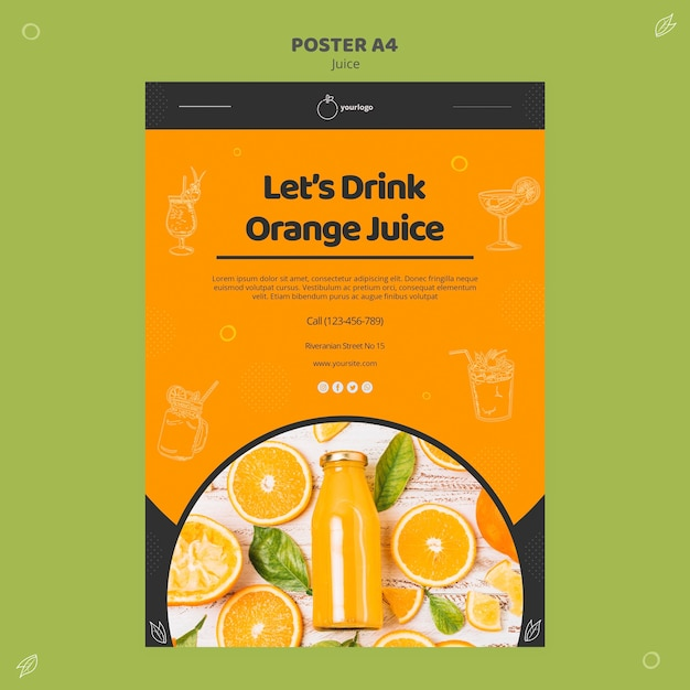 Шаблон плаката апельсинового сока Бесплатные Psd