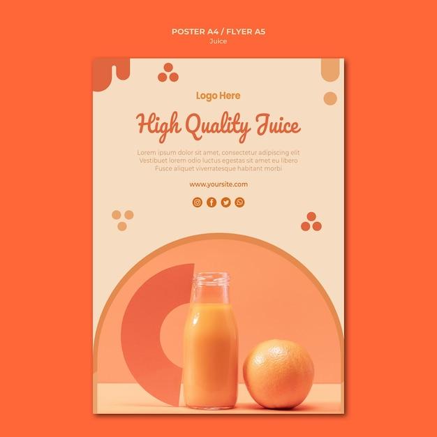 オレンジジュースポスターテンプレート 無料 Psd