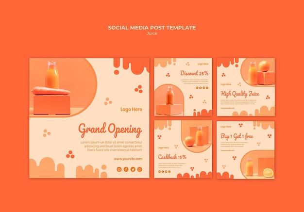 Orange juice social media posts Free Psd