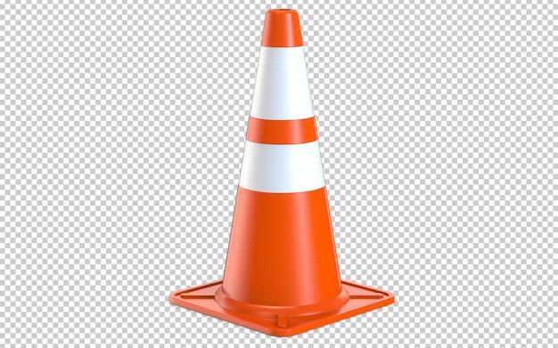 Оранжевый реалистичный пластиковый конус дорожного движения с белыми полосами Premium Psd