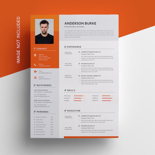 Orange resume  with sidebar Premium Psd