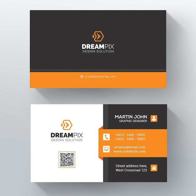 Orange shape visit card Free Psd