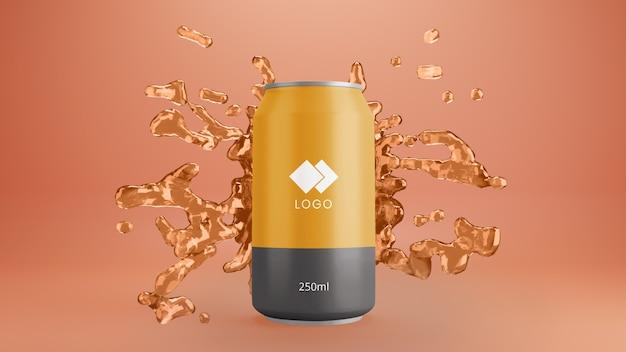 Orange soda can mockup with splashing juice Premium Psd