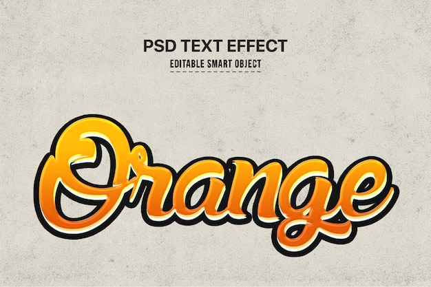 Orange text style effect Free Psd