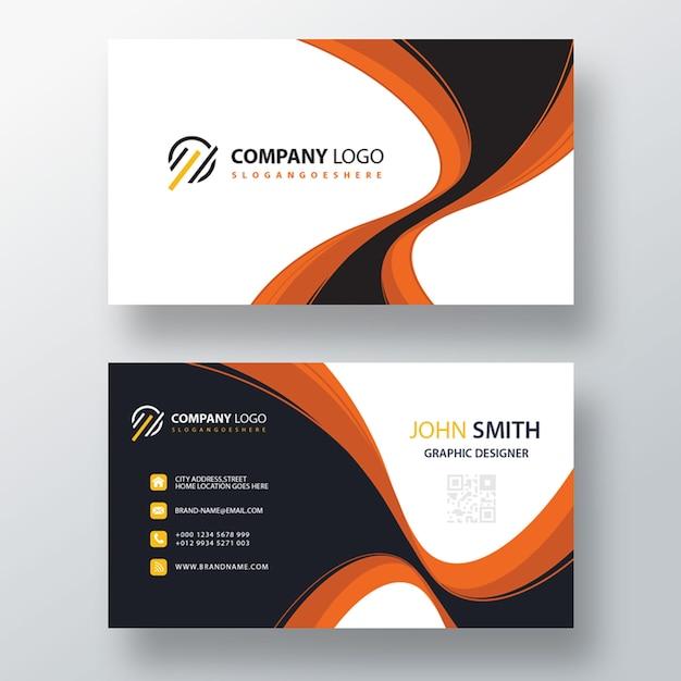 Orange wavy psd business card template Free Psd