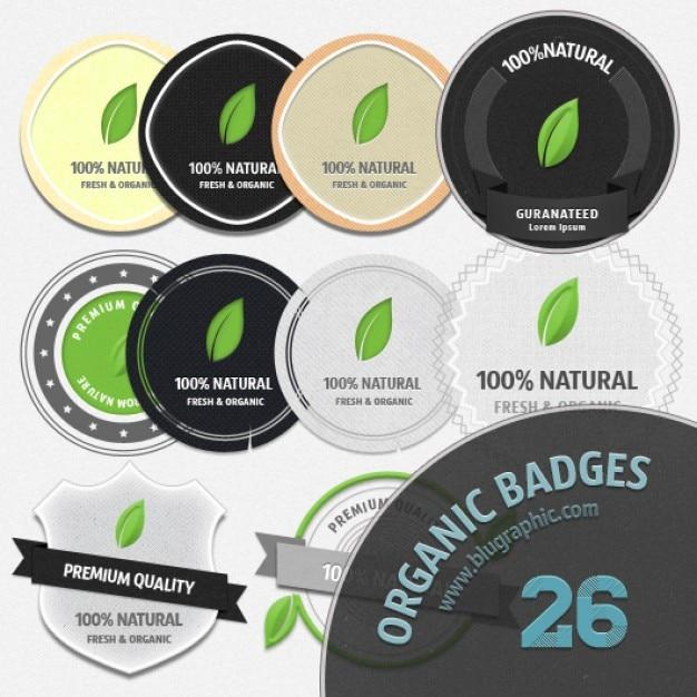 organic badges icon set Free Psd