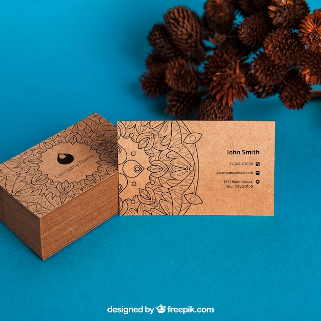 Organic business card mockup Free Psd
