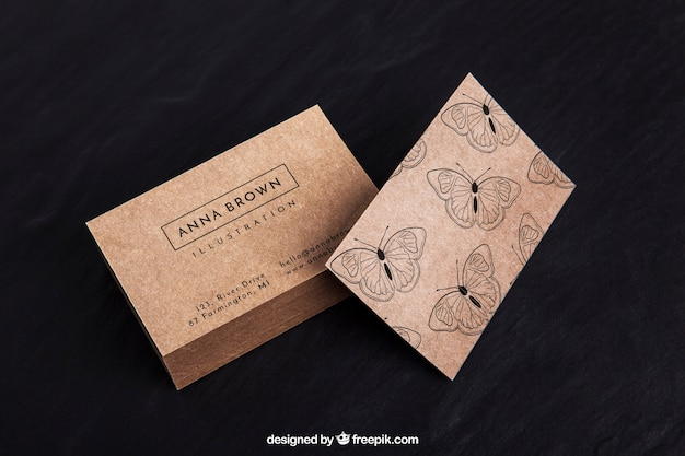 Organic business card mockup Free Psd