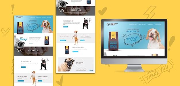 Pagina di destinazione di alimenti per cani biologici Psd Gratuite