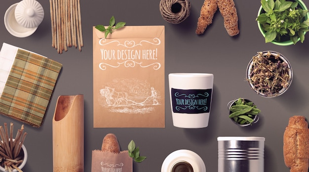 Organic food bread and spices mockup Premium Psd