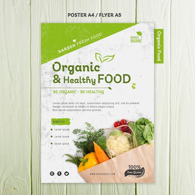 Шаблон плаката концепции органических продуктов питания Premium Psd