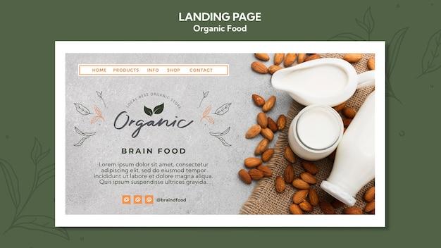 Organic food landing page template Premium Psd