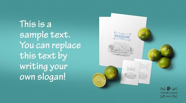 Organic food menu and business card mockup Premium Psd