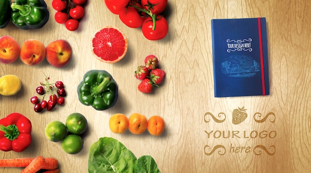 Organic food recipe book mockup Premium Psd