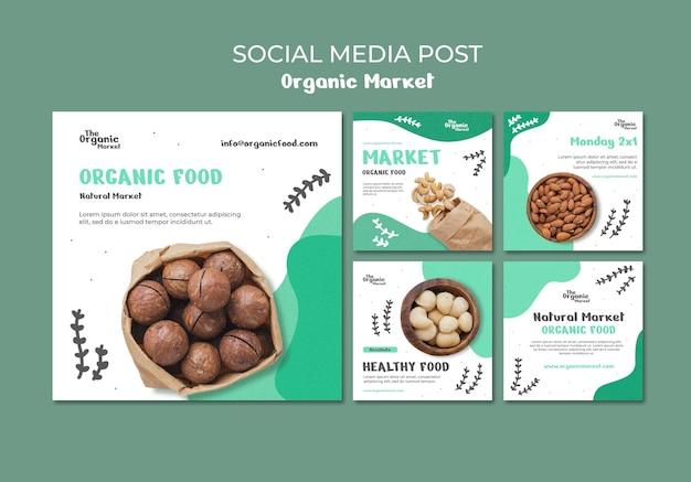 Шаблон сообщения в социальных сетях о органических продуктах Бесплатные Psd