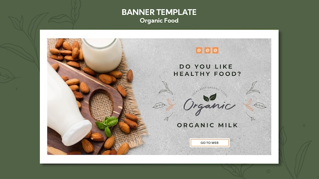 Organic food template banner Free Psd