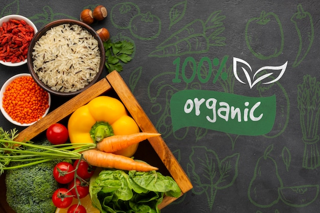 Organic food top view on a grunge background Free Psd
