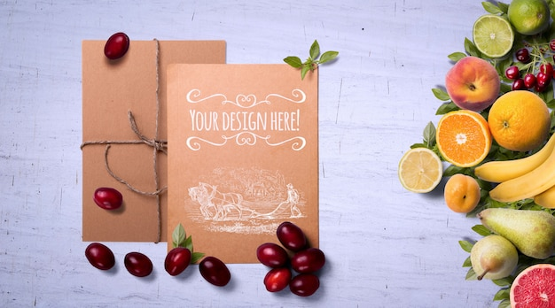 Organic fruits and spices on white background mockup Premium Psd
