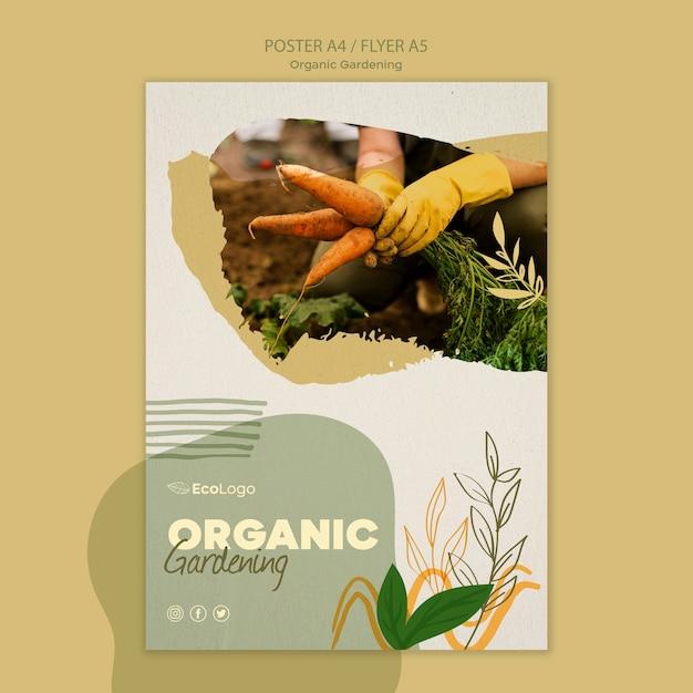 Органический садовый флаер с фото Бесплатные Psd