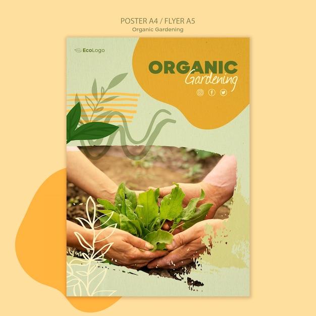Органический садовый постер с фото Бесплатные Psd