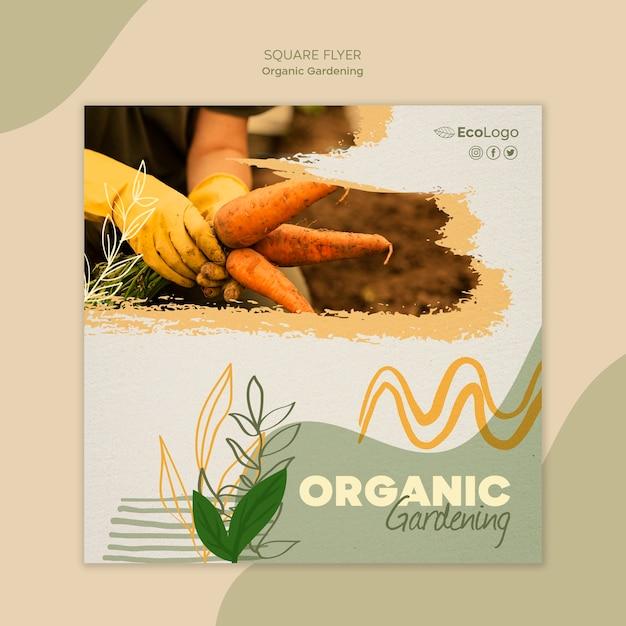 Органический садовый квадратный флаер с фото Бесплатные Psd
