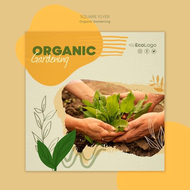 Органический садоводство квадратный флаер шаблон Бесплатные Psd