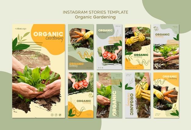 Шаблон истории органического садоводства с фото Бесплатные Psd