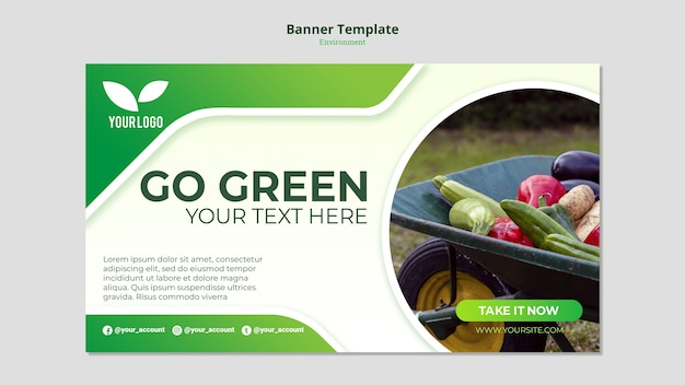 Organic Go Green Banner Template Free Psd File