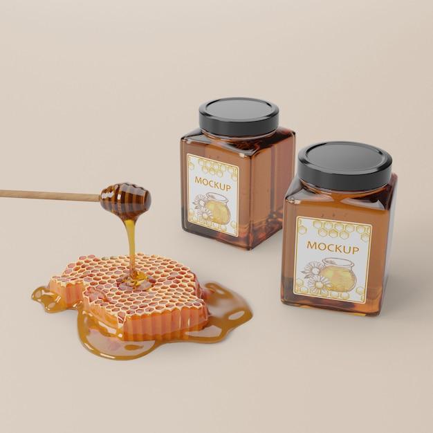 Organic honey product in jars Free Psd