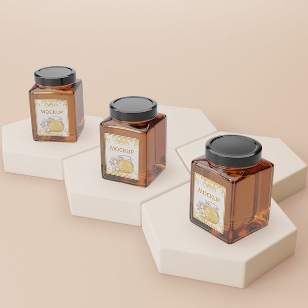 Organic honey product mock-up Free Psd
