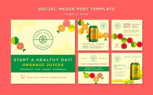 Organic juice social media post Free Psd