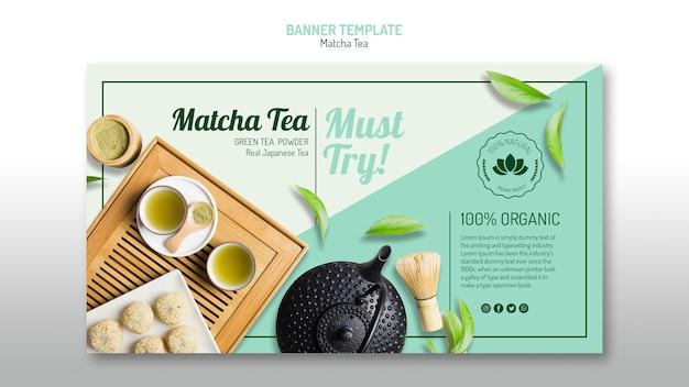 Organic matcha tea banner template Free Psd