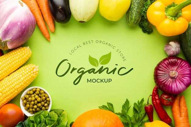 Organic mock-up with frame made from delicious fresh veggies Premium Psd