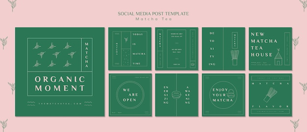Organic moment matcha tea social media post template Free Psd