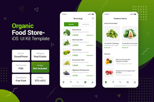Organic & natural food store mobile apps Premium Psd
