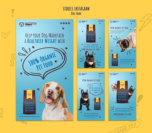 Organic pet food instagram stories collection Free Psd