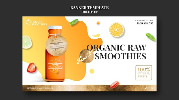 Organic smoothies ad template banner Free Psd