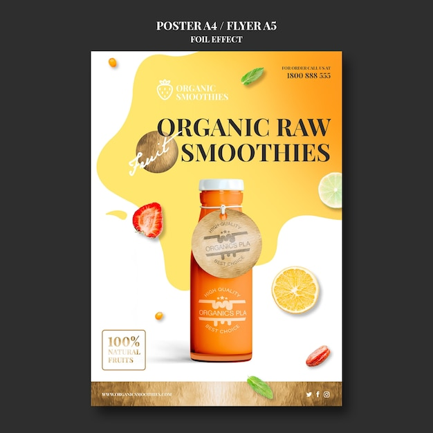 Organic smoothies poster template Free Psd