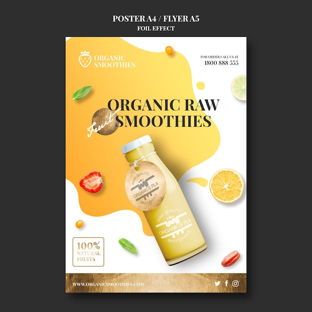 Organic smoothies template poster Free Psd